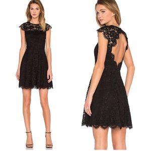 KATE SPADE Rose Lace Mini Dress in Black